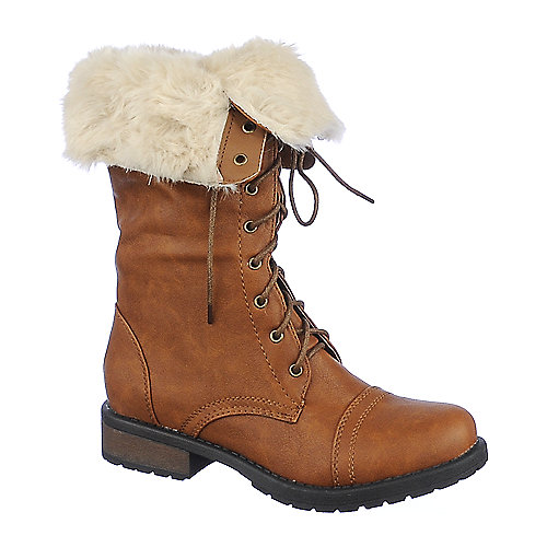 Shiekh Womens Pk-05 tan fold over fur combat boot