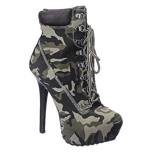 Dollhouse Womens Tyrant camo platform high heel ankle boot