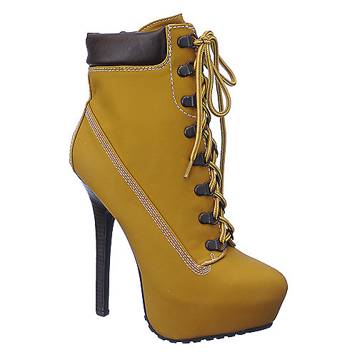Dollhouse Womens Tyrant tan platform high heel ankle boot