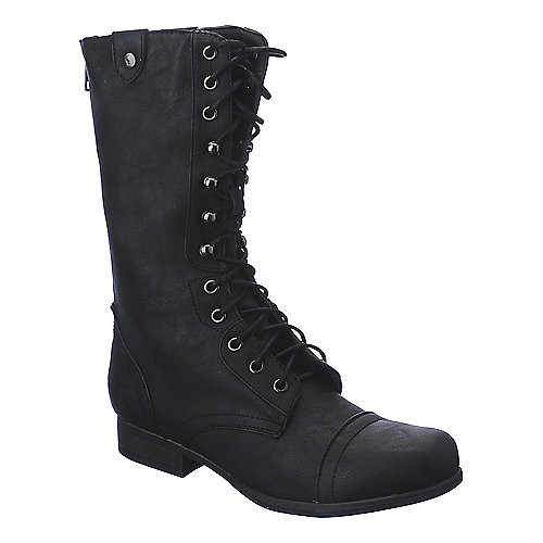 Madden Girl Gummiee black mid calf combat boot