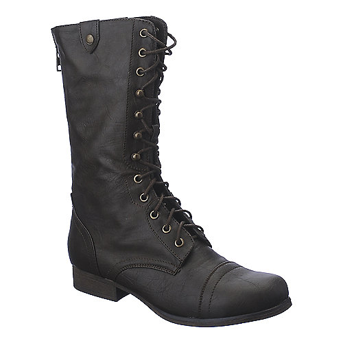 Madden Girl Gummiee brown mid calf combat boot