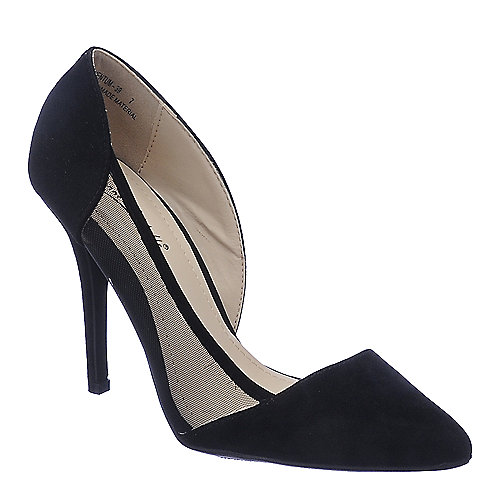 Anne Michelle Momentum-39 black suede high heel pump