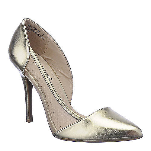 Anne Michelle Momentum-39 gold high heel pump