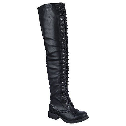 Buy Shiekh Womens PK-Thigh low heel combat thigh high boots ...
