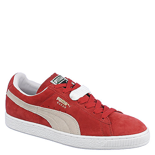 Puma Mens Suede Classic+ red lace up casual sneaker