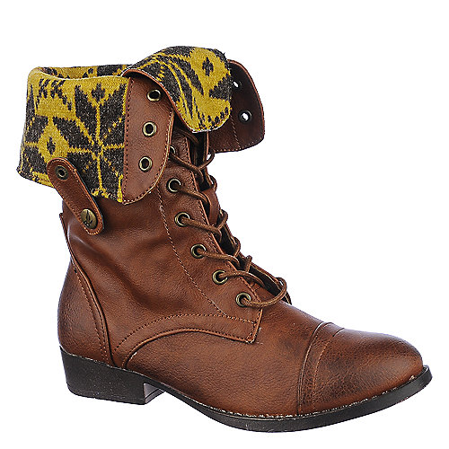 Shiekh Womens Saddy-4-S brown fold over combat boots