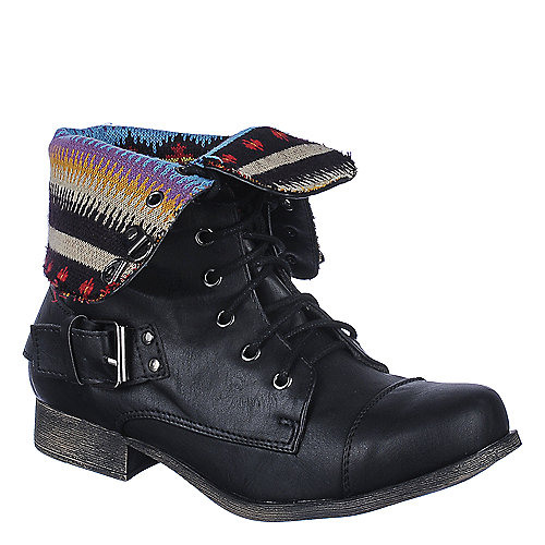 DbDk Womens Kalande-1 black fold over mid calf combat boot