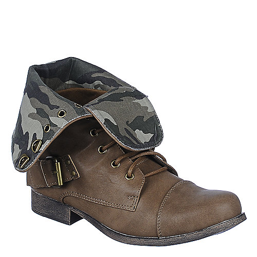 DbDk Womens Kalande-1 brown camo fold over combat boot