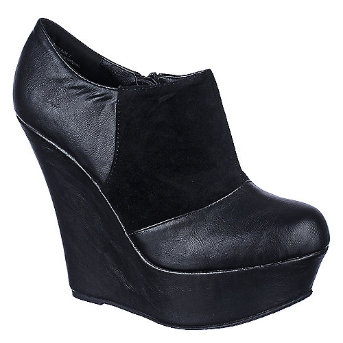 Bamboo Womens Pamela-08 black platform ankle boot