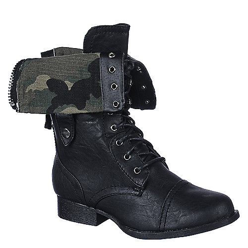 Shiekh Womens Jetta-25e black low heel mid calf combat boot