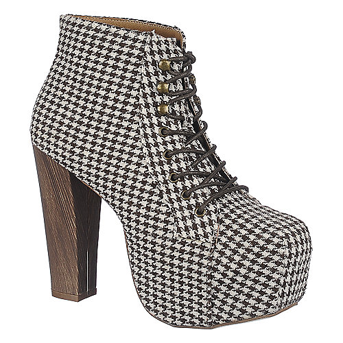 Shoe Republic LA Womens Silla brown high heel ankle boot