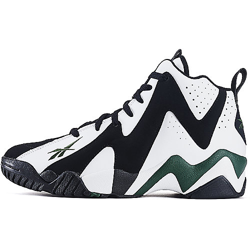 Reebok Black White Green Men s Athletic Basketball Shoe Kamikaze II Mid 86334721f