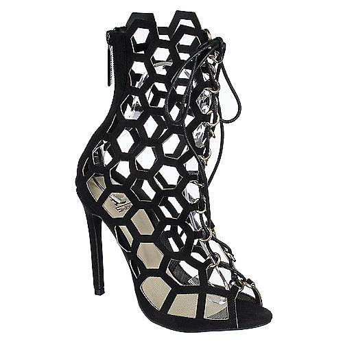 Shiekh Lenka-06 Womens Black Strappy Cutout Lace-Up Dress Heel ...