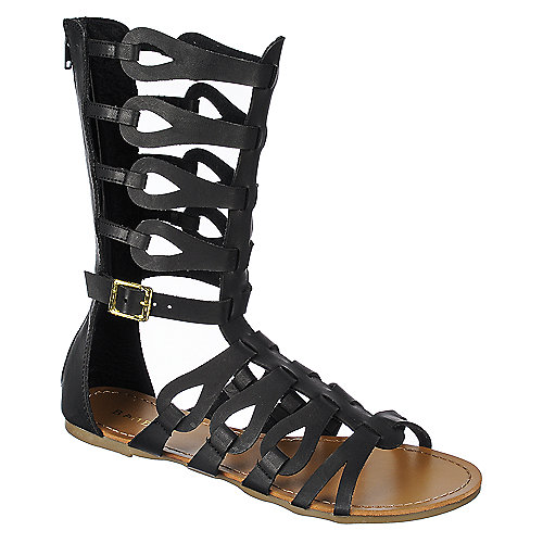 4280c17309993d Bamboo Sawyer-03 Black Womens Flat Gladiator Sandal