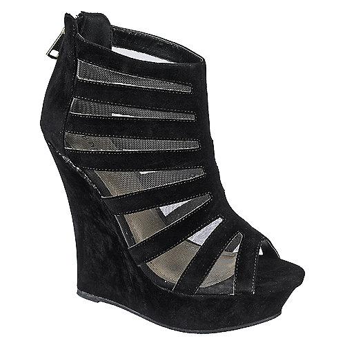 0eb37ebd8317 Bamboo Dreamer-36 Womens Black Peep Toe Wedge Heel