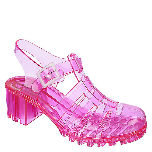 c2b8c89dacd Wanted Gumball Womens Pink Jelly Caged Strappy Heel Casual Sandal