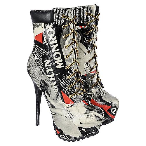 Shoe Republic La Women S Graphic Ankle High Heel Boot