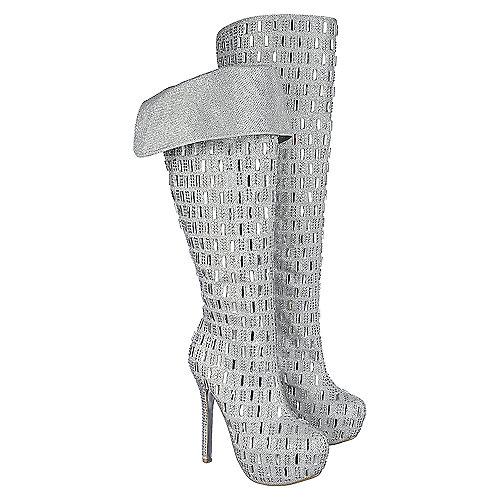 bbeac30bdc3 Shiekh Sexy-02 Women s Silver Knee-High Platform Boots