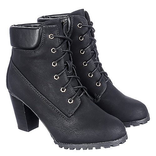 Bella Marie Cici-10 Women's Black Low-Heel Ankle Boots | Shiekh Shoes