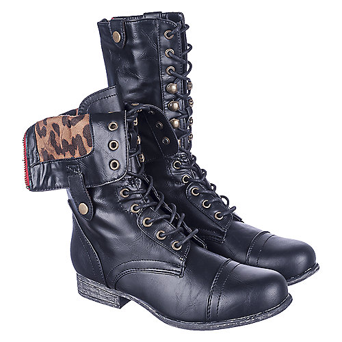 Bamboo Surprise-01N Women's Black Lace-Up Combat Boots | Shiekh Shoes