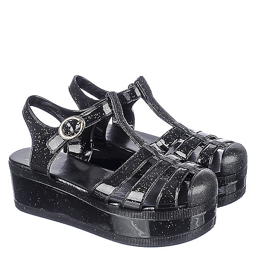 adb1607e244a Shiekh Disco-01 Women s Black Platform Jelly Sandal