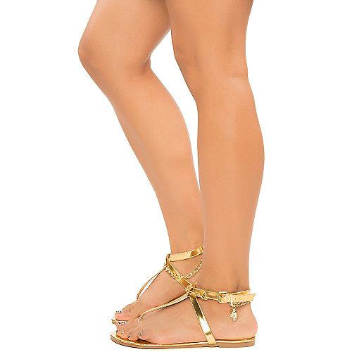 de1a11caeecb3 Shiekh Shiny Gold Women s Big Win Thong Sandal