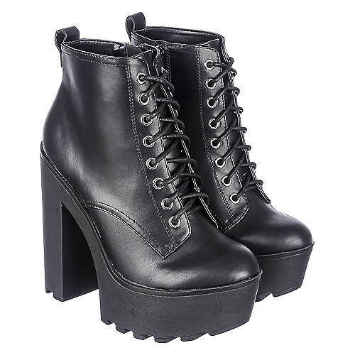 Soda Gru-S Women's Black High Heel Platform Boot | Shiekh Shoes