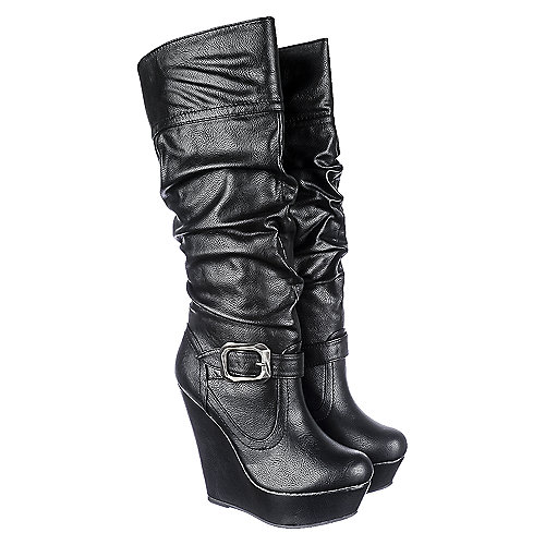 05fbbfbd3994 Bamboo Black PU Women s Wedge Platform Boot Booth-07