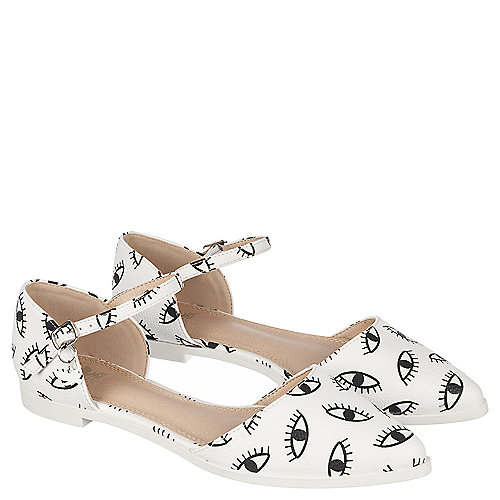 White/Black Women's Low Heel Dress Shoe Julique-1   Tuggl