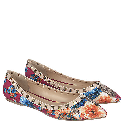 Fuchsia Floral Women's Casual Slip Ons Pippa-36 | Tuggl