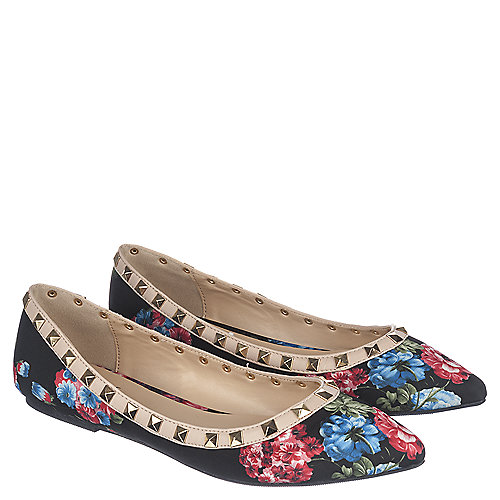 Black Floral Women's Casual Slip Ons Pippa-36 | Tuggl
