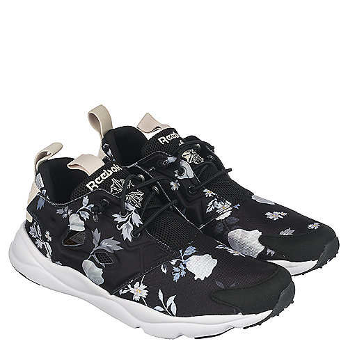 Reebok FuryLite SR Womens Black Floral Athletic Running Shoe ... c555f3ddb