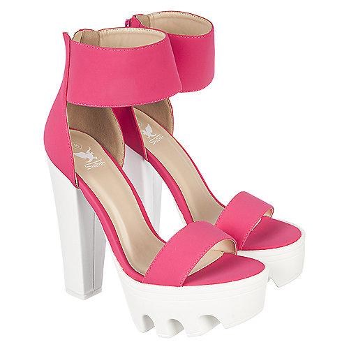 0d44290de16 Shiekh Vive 04 Women s Neon Pink Chunky Platform Heel