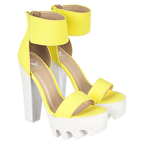 d2de1687190 Shiekh Vive 04 Women s Neon Yellow Chunky Platform Heel