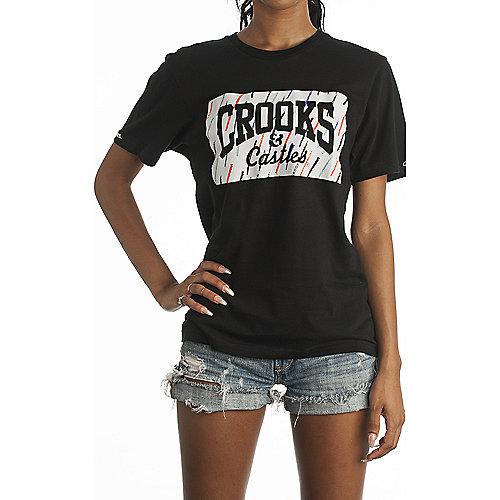 Crooks castles mural box logo knit crew women 39 s black t for Murals on the t shirt