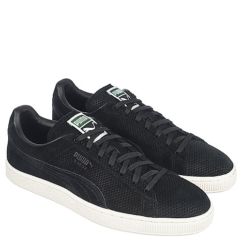 Men's Puma Suede Black Suede Laced Casual Athletic Shoes