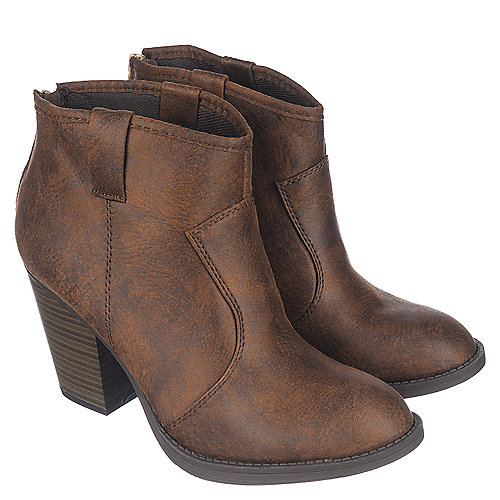 Brown Women's Low Heel Ankle Boot Albert-S at Shiekh Shoes in Los Angeles, CA | Tuggl