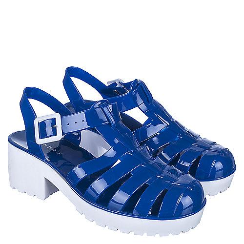 d5297a44a38a Blue White Women s Strawberry-01 Low Heel Jelly Sandal