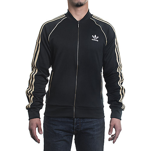 6174b2af0f58 adidas. Black Beige Men s Superstar Track Jacket
