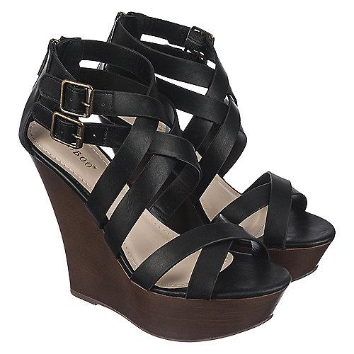 5d274b9b5ad Bamboo Stef-03 Women s Black High Heel Wedge