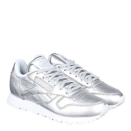 21bacbc8054 Reebok Silver Women s Athletic Walking Sneaker FACE Stockholm Classic  Leather Spirit