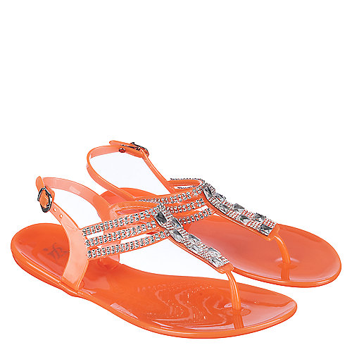 6a86005b3b36d9 Easos Geal HDK-88 Women s Orange Jeweled Thong Sandal