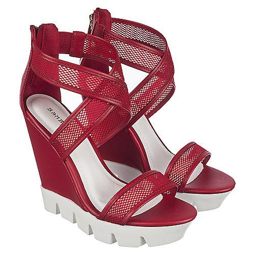 46c9f2223a3 Bamboo Ellen-08 Women s Red Platform Wedge Sandal