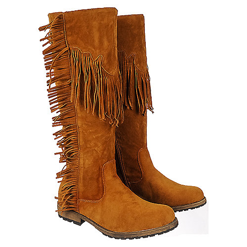 7cbe58a81d7 Tan Women s Knee High Fringe Pocket Boot Riley-01