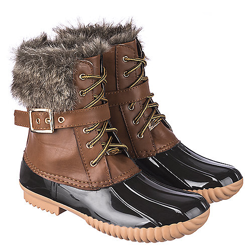 Women's Leather Fur Boot Duck-01 Camel | Shiekh Shoes