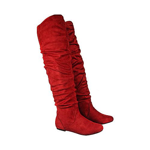 276378808462 Red Suede Women s Vickie HI Knee-High Pocket Boot