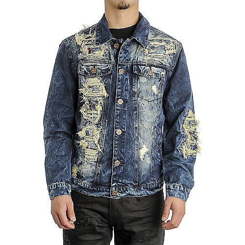 Grindhouse Ripped Denim Men's Blue Jacket | Shiekh Shoes