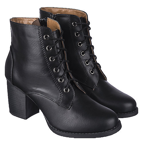 s low heel lace up boot korman s black shiekh shoes