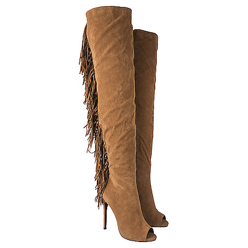 Women's Thigh-High Fringe Boot Rose Camel | Shiekh Shoes