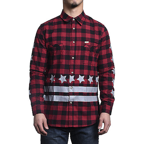 Men's Long Sleeve Flannel Shirt Brandox Longline Burgundy | Shiekh